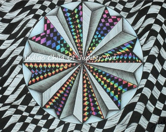 Abstract Art, Optical Illusion, Geometric, Hand-Drawn Psychedelic Art, Giclee Art Print, Drawing, Trippy Art, Wall Art
