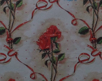1 Sheet Vintage Artfaire 1985 Red Roses Love All Occasion Gift Wrap Wrapping Paper