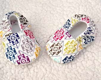 SALE---  Multi color Aztec print (prints varies) Baby booties, crib shoes, Baby shoes, Baby Gift
