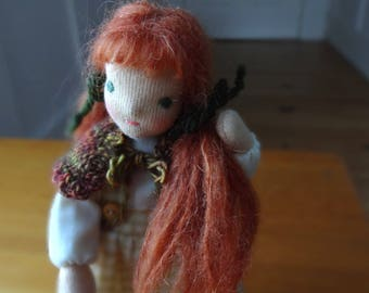 Bendy doll, dollhouse doll, posable Waldorf style doll, red hair, green eyes