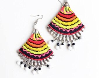 Rainbow tribal earrings