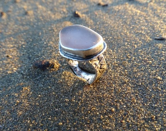 Sea glass ring, Violet sea glass, mixed metals ring,Rhiannon Ring, gypsy style