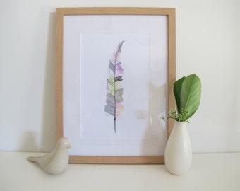 Pastel Watercolour Feather Print, Pastel Pink, Purple, Blue, Yellow, Green, Minimalist Print