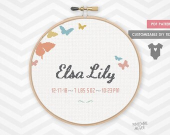 BUTTERFLY BIRTH ANNOUNCEMENT counted cross stitch pattern, personalized nursery decor pdf