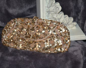 Gold Sequined and Beaded 1900's Evening Bag
