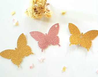 Butterfly die cuts,Gold butterfly die cuts,Glitter butterfly tags,Butterfly party decor,Wedding Butterfly cut outs,Pink glitter butterflies