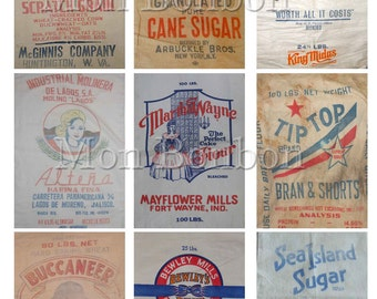 Vintage Flour, Sugar and Feed Sack Digital Collage Sheet - DIY Printable - INSTANT DOWNLOAD