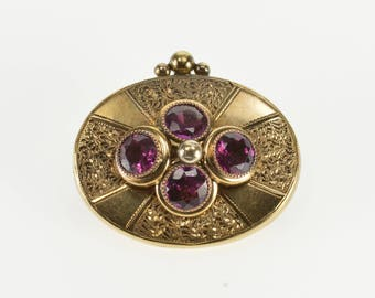 10K Ornate Scroll Etched Oval Purple Tourmaline Pin/Brooch Yellow Gold