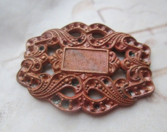 Vintage 1940's French Solid Brass  Ornate Backing Setting Stamping 1Pc.