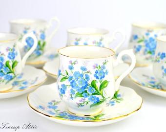 Royal Albert Set of 6 Forget Me Not Demitasse Teacup and Saucers, English Bone China Demitasse Cups Set, Tea Party, ca. 1950
