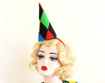 Harlequin Clown Hat, High Fashion, Halloween Costume, Vintage Clown, Burning Man, Circus Costume