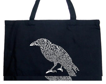 Large Tote Bag - Created Using the First Few Lines from Edgar Allen Poe's The Raven