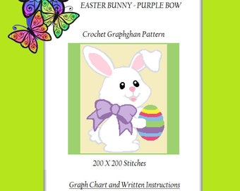Easter Bunny - Purple Bow - Crochet Graphghan Pattern