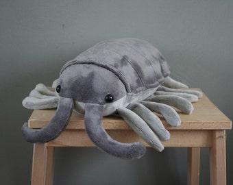 Pjotr Pillbug plush, bug plush, cute woodlouse plushie, 14 inch, made to order