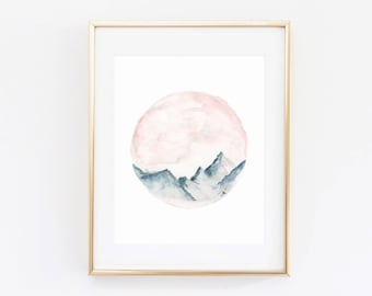 Mountain Decor | Circle Mountain | Round Decor | Rustic | Watercolor | Forest Watercolor Art Print | Wasatch | Utah Mountains | Modern