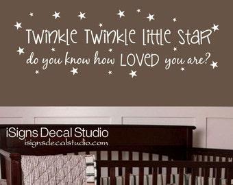 Twinkle Twinkle Little Star Wall Decal - Nursery Wall Decal -  Stars Wall Decal