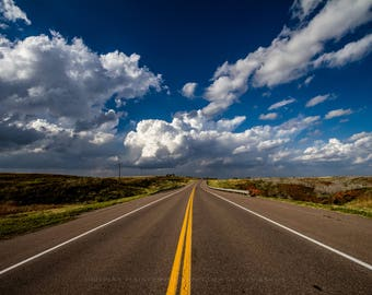 Road Fine Art Photography Print - Picture of Highway Leading in to Deep Blue Sky in as Storms Build in Western Oklahoma Travel Home Decor