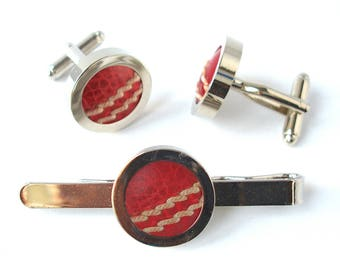 Real Cricket Ball Cufflinks and Tie Bar Set, Groomsmen Cufflinks & Tie Clip, Wedding Cufflinks, Tie Slide, Groom Cufflinks, Fathers day