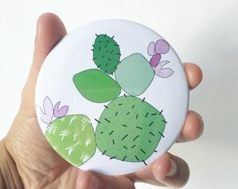 Cactus Print Pocket Mirror- Small Mirror, Handbag Mirror, Small Gift, Illustrated Mirror