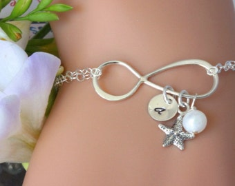 Sterling Sinler Infinity Bracelet - Starfish Bracelet - Intial Bracelet - Persaonalized Initial Bracelet Starfish Infinity - Bridesmaid gift