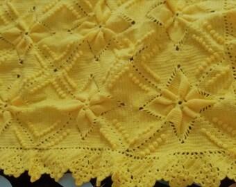 Crochet Baby Blanket - baby gift, boys blanket, girls blanket, crochet blanket,sweet yellow, baby shower, handmade
