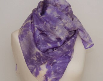 Purple spring inspiration, hand-painted silk scarf, free shipping
