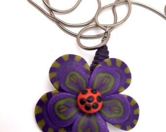 Purple and Green Scene pendant flower nevklace by Marie Segal