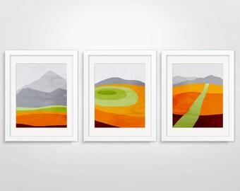 Orange Wall Art Prints Set of 3, Mid Century Modern Art, Abstract Wall Art Prints, Modern Wall Art, Mountain Print, Abstract Landscape Art