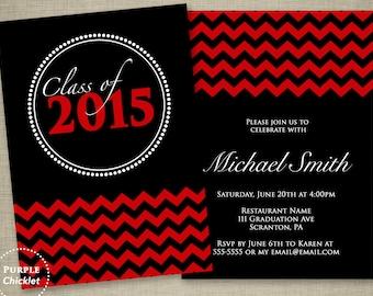Red Graduation Invitation Class of 2018 Red Chevron Double Sided Black Party Invitation Printable JPG File Invite 17a