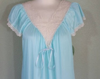 Vintage Nylon Nightgown by Ilise Stevens,  Blue, ruffle Hem, medium