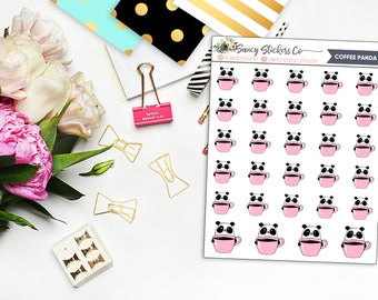 Coffee Lover Panda Planner Stickers | for use with Erin Condren Lifeplanner™, Filofax, Personal, A5, Happy Planner