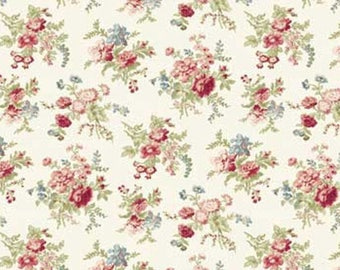 Fleur de Jardin Cotton Quilt Fabric Red Rooster By the Yard