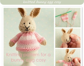 Toy knitting pattern for a bunny egg cosy, Easter bunny