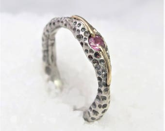 Lone pink sapphire ring, gold silver engagement ring