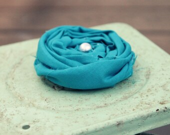 Teal Rolled Flower Pin, Removable Flower Pin, Bag Embellishment, Rolled Flower Pin Accessory, Accessory Rolled Flower Pin for Handbag