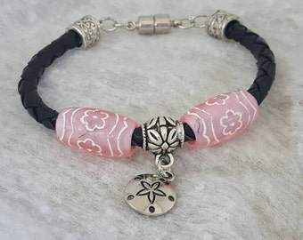 5mm Black Round Braided Leather and Pink bracelet