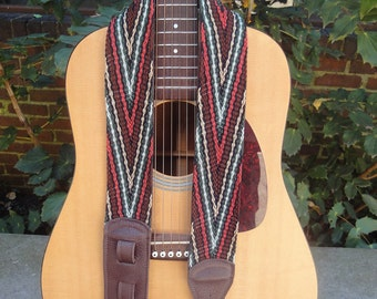 Guitar Strap/ Finger Woven/Leathered