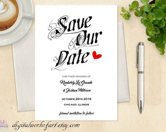 Save our Date Template, Save our Date Card, Save the Date Printable, Wedding Printable, Rustic Wedding, PDF Instant Download, save the date