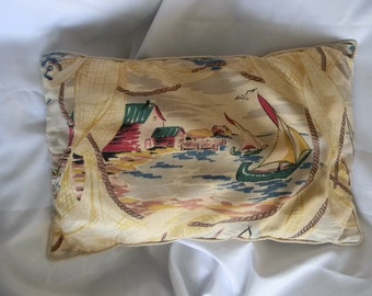 Vintage Decorative Toss Pillow - Fishing Village Scene  - Accent Pillow - Rope Type Trim - Muted Colors