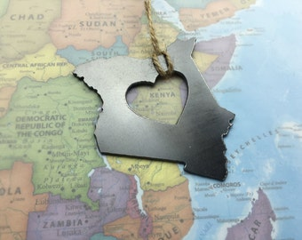 Heart Kenya  Ornament Steel Ornament or Decoration, Travel Memento, Industrial Decor,  Gift, Africa, African, Kenyan Father's Day