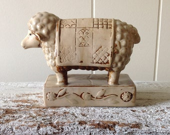 Vintage Ceramic Sheep Figurine In Blanket, Quilt, Small Primitive Folk Art Sheep, Ewe, Farm Animal Statue On Pedestal