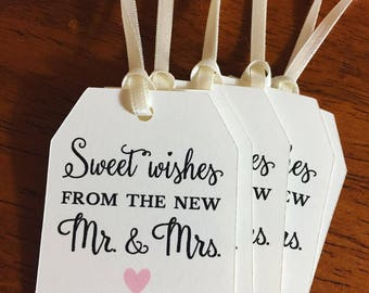 Sweet Wishes from the new Mr. & Mrs. Favor Tags,Wedding Favor Tags,Custom Favor Tags