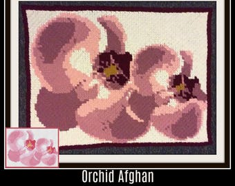 Orchid Afghan, C2C Graph, Written Word Chart, Orchid C2C Graph, Orchid Crochet Pattern