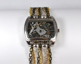 Steampunk Inspired Vintage Watch Parts Bracelet Mixed Metals 00163