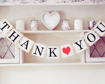 Thank you banner wedding decoration, Thank you bunting
