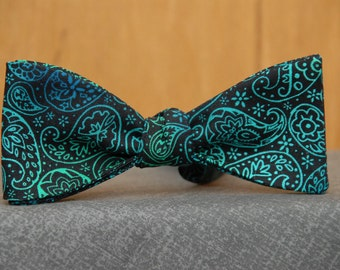 Green Shaded Paisley on Black  Bow Tie