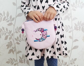 Pink Toddlers Purse, Crossbody Bag For Girls, Pink Girls Purse, Girls Birthday Gift, Pink Girls Bag, Purse with Moon, Pink Kids Bag