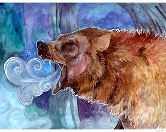 "Mother Ursus 5X7"" Signed Watercolor Bear Art Print"
