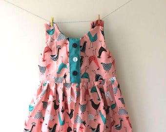 Funky chicken dress, chicken print, chicken gift, chicken clothes, rooster primt, rooster gift, quirky dress, baby dress, bright dress