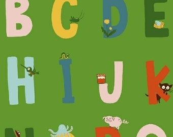Alphabet in Green - Kinder by Heather Ross - quilting cotton fabric - half yard or more